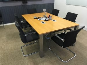 Meeting table with power fittings