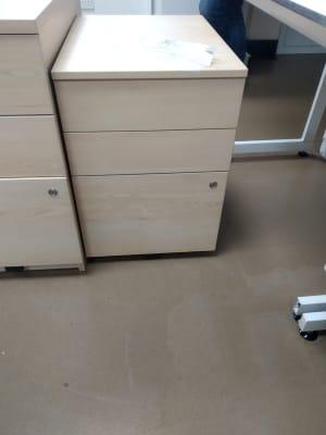 Three drawer wooden pedestal