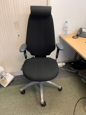 High back operator chair with headrest