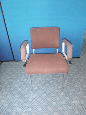 Upholstered waiting room arm chair - upcycle project