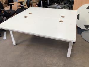 Manual height adjustable desks back to back