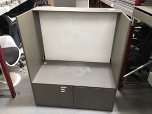 Metal Cabinet with bottom drawer - seat or shelf above and glass back. Printer Stand.