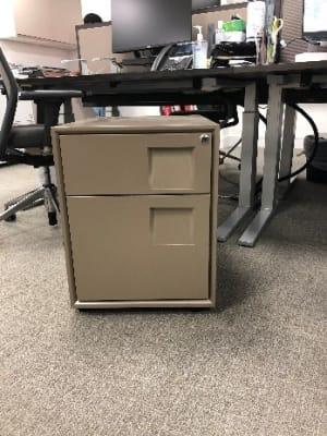 Designer metal pedestal on wheels with two drawers