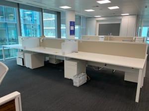 Bank of 6 White Senator Desks with desk dividers