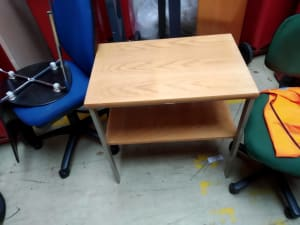 beige wooden 2-layer table
