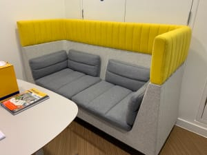 Allermuir Haven Grey and Yellow Acoustic Sofa
