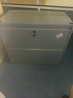 gray metal 2-drawer filing cabinet