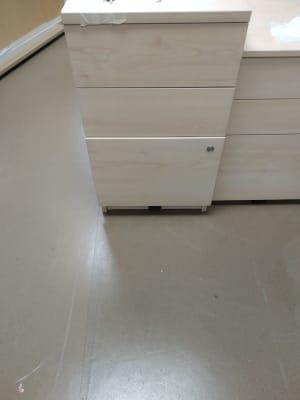 Three drawer wooden pedestal - desk height