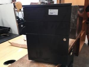 Black wooden Pedestal on wheels