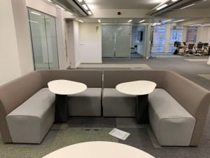 2-piece grey sofa with attached tables