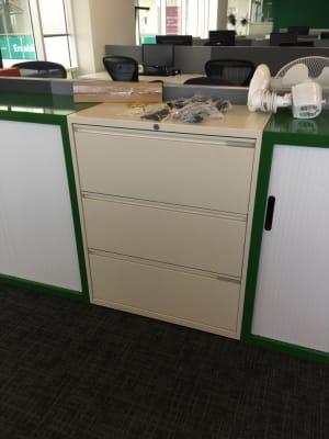 Metal three drawer filing storage cabinet