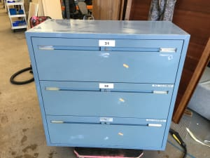 Heavy Metal 3 drawer wide Filing Cabinet