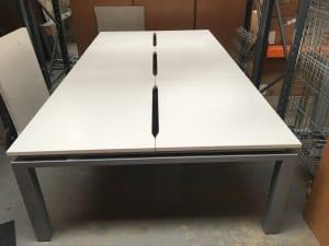 Bank of 6 desks, 100cm tops