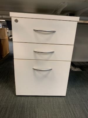 White pedestal cabinet with silver handles