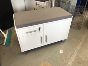 Caddy Cabinet with Sit On Soft Cushion top - lockable wheels