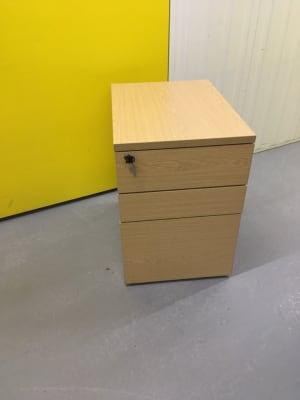 3 drawer wooden pedestal on wheels