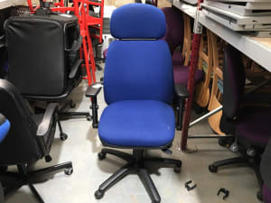 Blue padded operator office chair