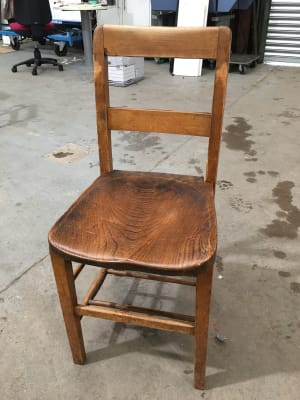 Vintage wooden chapel chair