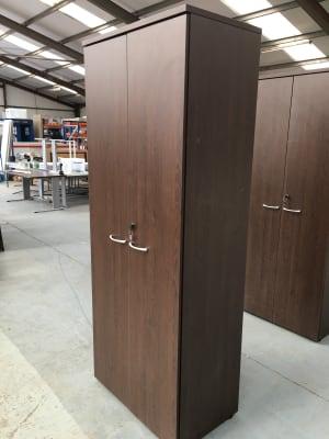 Tall wooden storage cabinet dark walnut