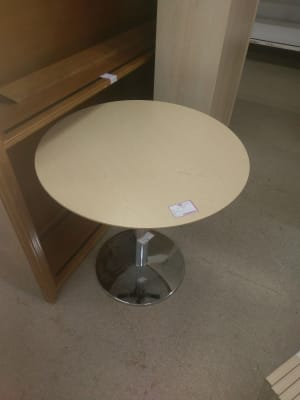 round gray wooden top coffee table