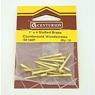 """1"""" x 4 SC Slotted Brass Woodscrews with Countersunk Head (Pack of 15)"""