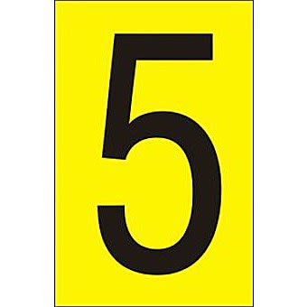50mm Yellow Vinyl - Character '5'   (Pack of 10)