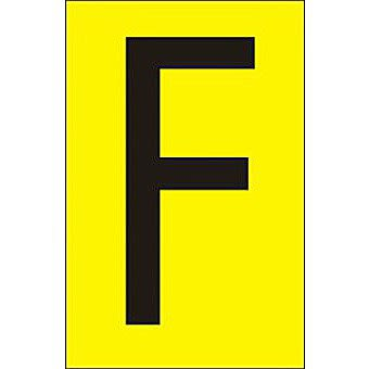50mm Yellow Vinyl - Character 'F'   (Pack of 10)