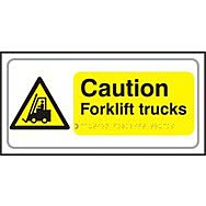 Caution Forklift trucks - Taktyle (300 x 150mm)