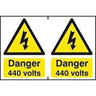 Danger 440 volts -  PVC (300 x 200mm)