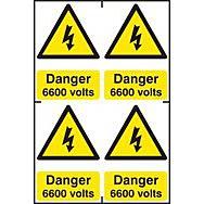 Danger 6600 volts - PVC (200 x 300mm)