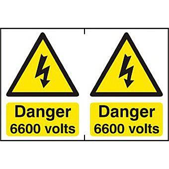 Danger 6600 volts - PVC (300 x 200mm)