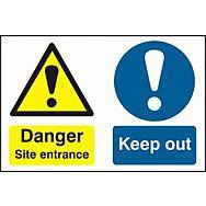 Danger Site entrance Keep out - PVC (600 x 400mm)