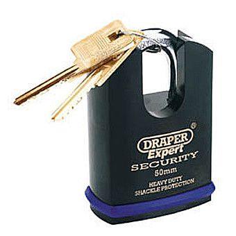 Draper 64197 Expert 50mm Heavy Duty Padlock & 2 Keys With Shrouded Shackle