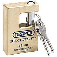 Draper 64200 Expert 56mm Quality Close Shackle Solid Brass Padlock & 2 Keys With Hardened Steel Shackle
