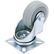 Draper 65468 50mm Dia. Swivel Plate Fixing Rubber Castor - S.w.l 50kg