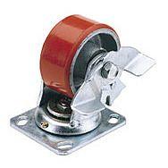 Draper 65524 100mm Dia. Swivel Plate Fixing Heavy Duty Polyurethane Wheel With Brake - S.w.l. 250kg