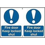 Fire door Keep locked shut - PVC (300 x 200mm)