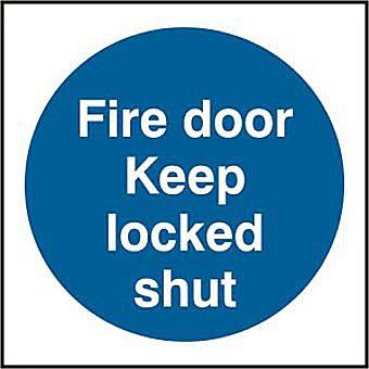 Fire door Keep locked shut (Multipack of 20) - PVC (70 x 70mm)