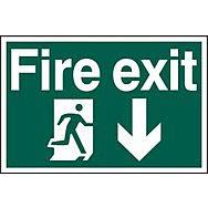 Fire exit running man arrow down - PVC (600 x 400mm)