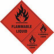Flammable liquid labels - SAV (200 x 300mm) (Pack of 3)