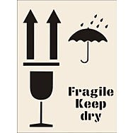 Fragile Keep Dry Stencil (300 x 400mm)