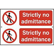 Strictly no admittance - PVC (300 x 200mm)