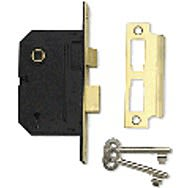 Union 2 Lever Rebated 13mm Mortice Lock Polished Brass 3""
