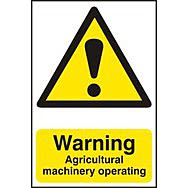 Warning Agricultural machinery operating - PVC (200 x 300mm)