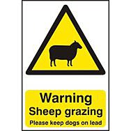 Warning Sheep grazing Please keep dogs on lead - PVC (200 x 300mm)