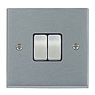 SelectRic Satin Chrome 10 Amp 2 Gang 2 Way Switch with Black Inserts