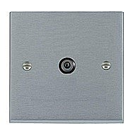 SelectRic Satin Chrome Single TV Socket 1 Gang with Black Inserts