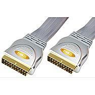 SLX Gold Flat Scart To Scart Lead 1.5 Metre 20 Pin