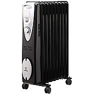 De Vielle 2000 Watt Oil Filled Radiator With 9 Fins In Black