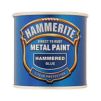 Hammerite Direct To Rust Metal Paint Hammered Blue 0.25 Litres